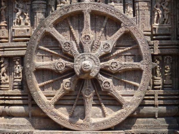 Surya wheel  at Konark, Orissa, India. 13th century