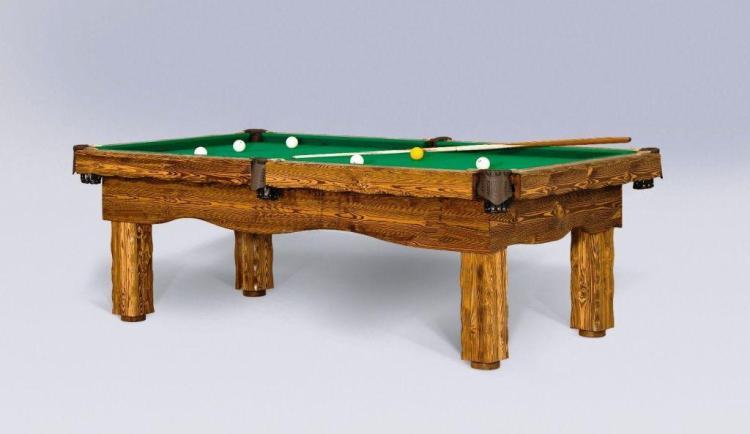 Artemis light rustic log pool handmade cabin billiard table