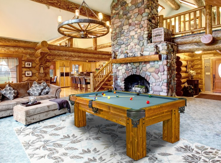 Rustic Ranch log Cabin pool table by Vision Billiards