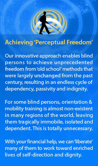Achieving Perceptual Freedom. Our innovative approach enables blind persons to achieve unprecedented freedom from 'old school' methods that were largely unchanged from the past century, resulting in an endless cycle of dependency, passivity and indignity. For some blind persons, orientation & mobility training is almost non-existent in many regions of the world, leaving them tragically immobile, isolated and dependent. This is totally unnecessary. With your financial help, we can 'liberate' many of them to work toward enriched lives of self-direction and dignity. Same silhouette background as previous two modules.
