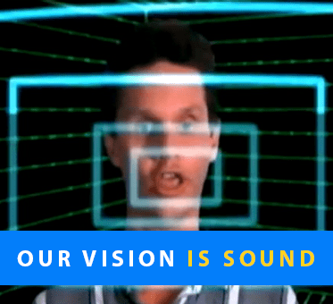 Our Vision Is Sound. Image: Daniel Kish makes tongue-clicks as animated sound bars are superimposed.