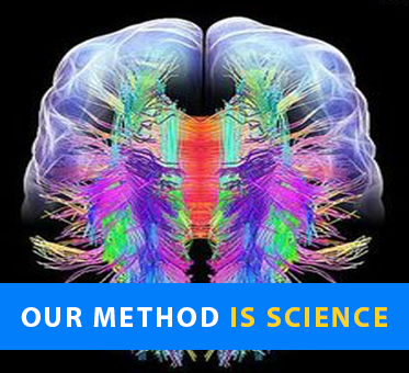 Our Method Is Science. Computer graphic of the brain shows the visual cortex and surrounding area 'lit up' in different colors.