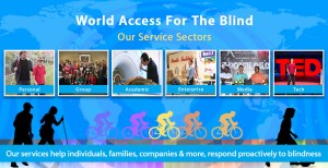 Banner slide shows multi-colored silhouettes of cyclists along with black silhouettes of a male and female couple walking with navigation/hiking canes, and a boy in the foreground playing soccer with a ball tied inside a plastic bag to give audio cues, set against a blue world map with Flash Sonar Rings faintly superimposed. The top text reads: World Access For The Blind - Our Service Sectors. Six photo boxes are shown below reading from left to right: Personal, which shows a photo of Perceptual Mobility Instructor Brian Bushway working with a male student; Group, showing our Instructors with participants at a Perceptual Mobility workshop at the 2015 No Barriers Conference; the third box is titled Academic and shows Daniel Kish lying on an MRI unit as it prepares to scan his brain activity; the fourth box is titled Enterprise and shows a photo of our Perceptual Navigation instructors Brian Bushway and Juan Ruiz speaking to a group of employees at a client organization; the fifth box is titled Media and the photo shows Daniel Kish sitting between two stars of the motion picture Thaanavam which he consulted for and made a cameo appearance in; the final box is titled Tech and shows Daniel Kish standing onstage holding a full-length navigation cane at the 2015 TED conference in Vancouver. The lower banner text reads: Our services help individuals, families, companies and more , respond proactively to blindness.