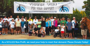 Banner shows a photo of people at a World Access For The Blind event under a wide white banner that shows the text: Thank You for your Support in between two of the WAFTB logo icons. The bottom banner text line reads: As a 501c3 Non-Profit, we need your help to meet that demand. Please Donate Today!