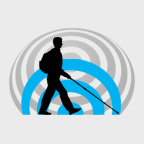 WAFTB Logo Icon shows a right side black silhouette of Daniel Kish walking with a full-length cane and wearing a backpack against a small blue outgoing click FlashSonar wave with a larger grey returning echo sound wave.