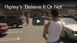 Video thumbnail from Ripley's 'Believe It Or Not' TV program shows World Access For The Blind Perceptual Navigation instructor Juan Ruiz walking through a mall parking lot. CLick on the thumbnail to go to the video.