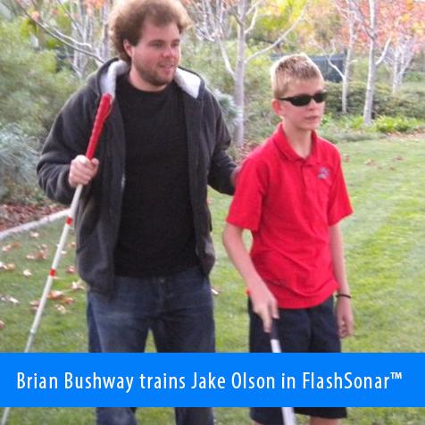 Brian Bushway trains Jake Olson in FlashSonar.
