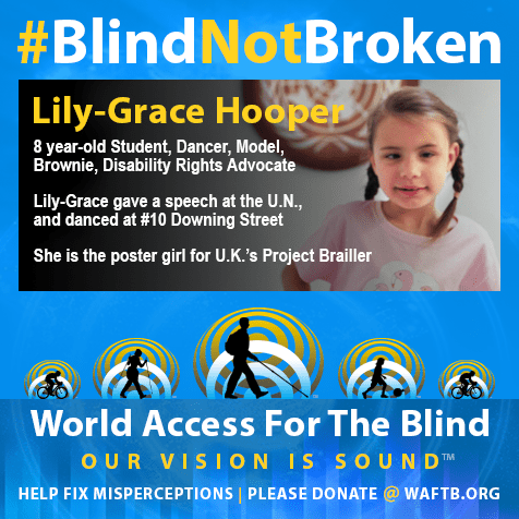 8 year-old student, dancer, model, Brownie, Disability Rights Advocate. Lily-grace gave a speech at the United Nations and danced at #10 Downing street. She's the poster girl for U.K.'s Project Brailler.