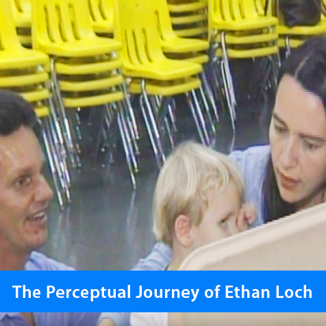 The Perceptual Journey of Ethan Loch. Image shows Daniel Kish and Larinda Loch working with Ethan at the age of two.