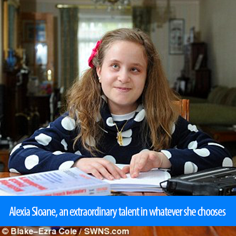 Alexia Sloane, an extraordinary talent in whatever she chooses. Image shows Alexia reading a Braille book on a table next to her Braille computer.