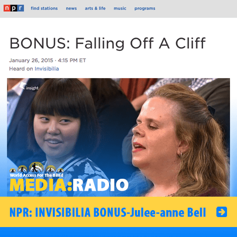 Radio: NPR: Invisibilia Bonus: Julee-anne Bell. Image: Screengrab of NPR page and photo of Julee-Anne Bell in a TV studio audience.