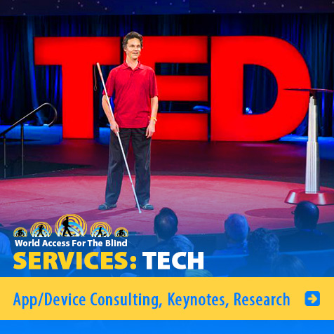 Services: Tech: App/Ddevice Consulting, Keynotes, Research. Image: Photo of Daniel Kish onstage at TED.