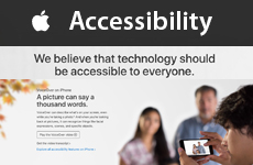 Screengrab from Apple.com Accessibility. Text reads We believe that technology should be available to everyone. Image shows a blind young man taking a photo of two people using Voiceover on the iPhone.