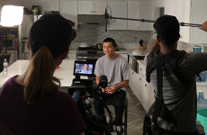 Image: WAFTB student Calvin is interviewed by a Video crew from the program Conquered on PopSugar and Z Living.