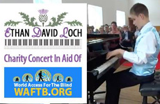 Composite photo shows a poster: Ethan David Loch. Charity concert in aid of WAFTB.ORG, The other part of the photo shows Ethan in performance.