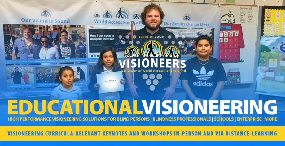 Educational Visioneering.Visioneering curricula-relevant Keynotes and Workshops in-person and via distance-learning. Image: Visioneer Brian Bushway stands with students at a Visioneers workshop during Science Day at their Los Angeles area school.