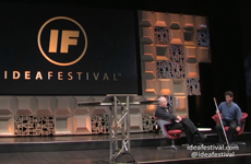 Photo of Daniel Kish being interviewed during a Question and Answer session at IdeaFestival 2015 in Louisville, Kentucky.
