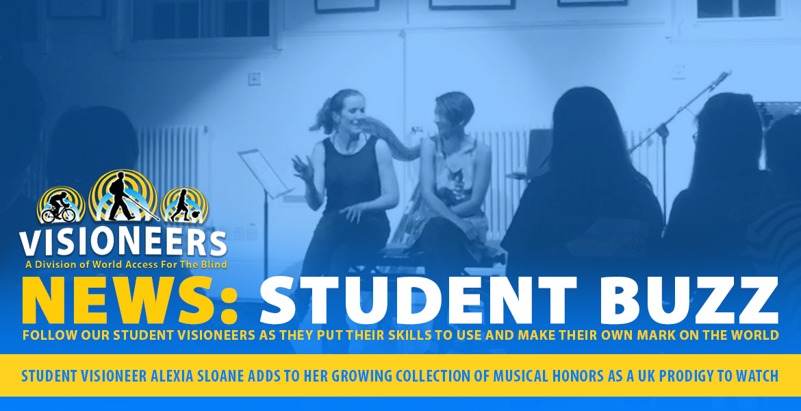 Visioneers News: Student Buzz:Student Visioneer Alexia Sloane adds to her growing collection of musical honors as a UK Prodigy to watch. Image: Photo of Alexia speaking to musicians and audience members about her music.