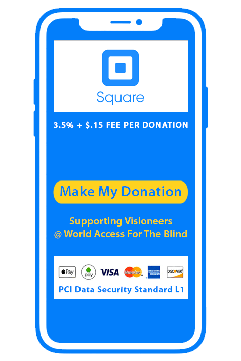 Donate via Square. 3.5 percent plus 15 cents fee per donation. Square accepts Apply Pay, Android Pay, Visa, MasterCard, American Express and Discover card with PCI Data Security Standard L1. Make my donation.