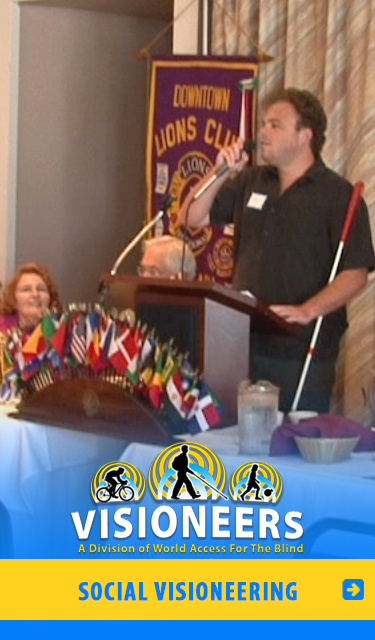 Social Visioneering category link. Image: Senior Visioneer speaks at a Lion's Club meeting.