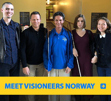 Photo link to Visioneers Norway Facebook page showing Daniel Kish with the Board of Directors of Visioneers Norway.