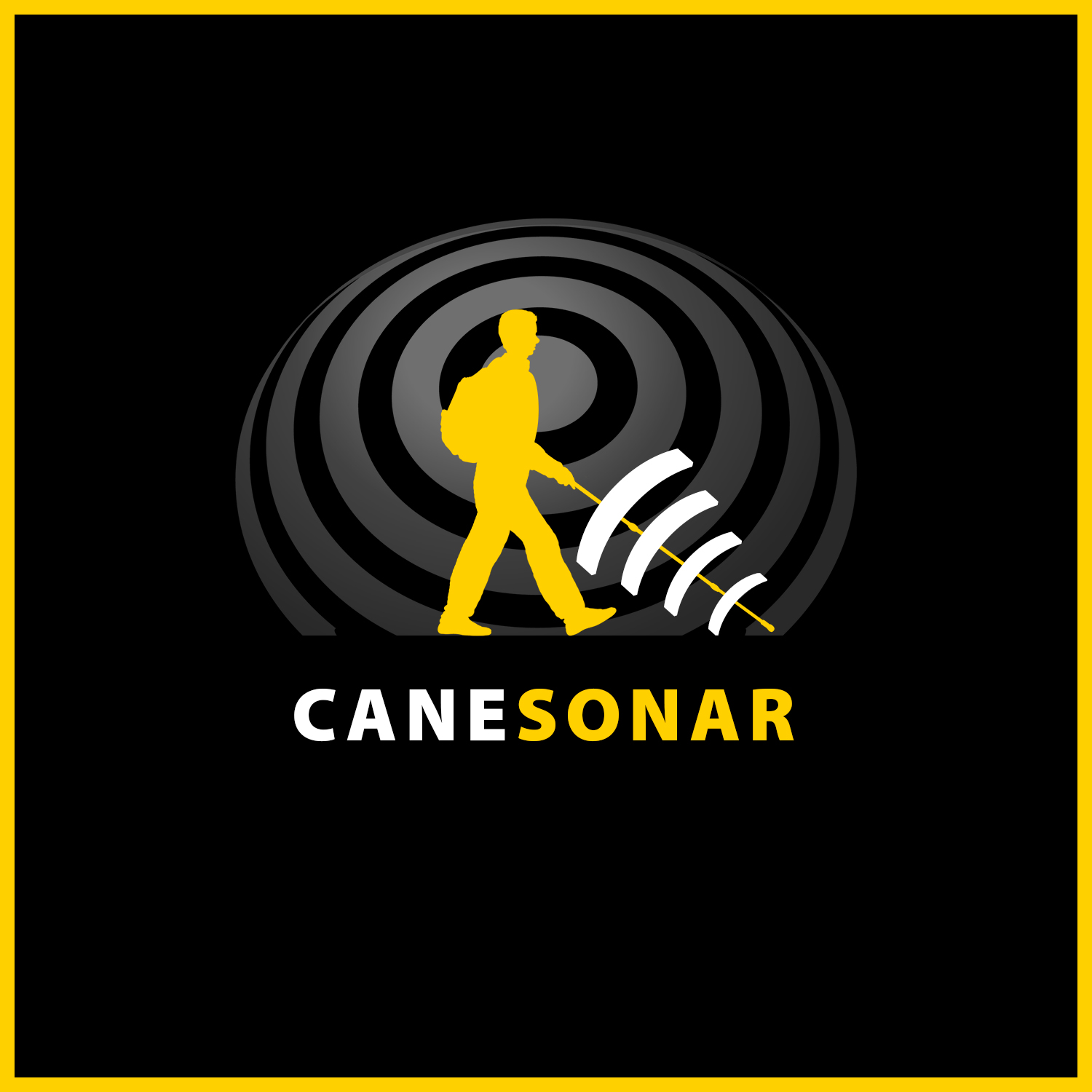 Yellow full length silhouette of Daniel Kish walking with a full-length SonarCane reflecting white sonar waves back to Daniel is set again a gradient grey set of Sonar rings reflecting the surrounding environment. above the words Cane Sonar.