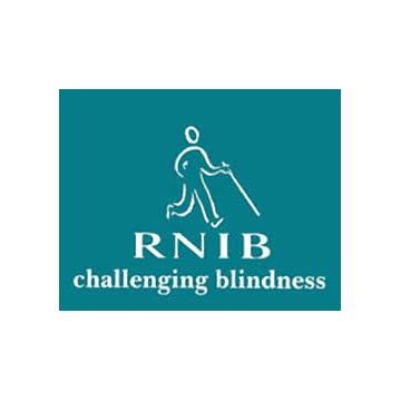 RNIB logo - panel 1 as described in previous text.