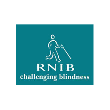 RNIB logo - panel 1 as described in previous text.