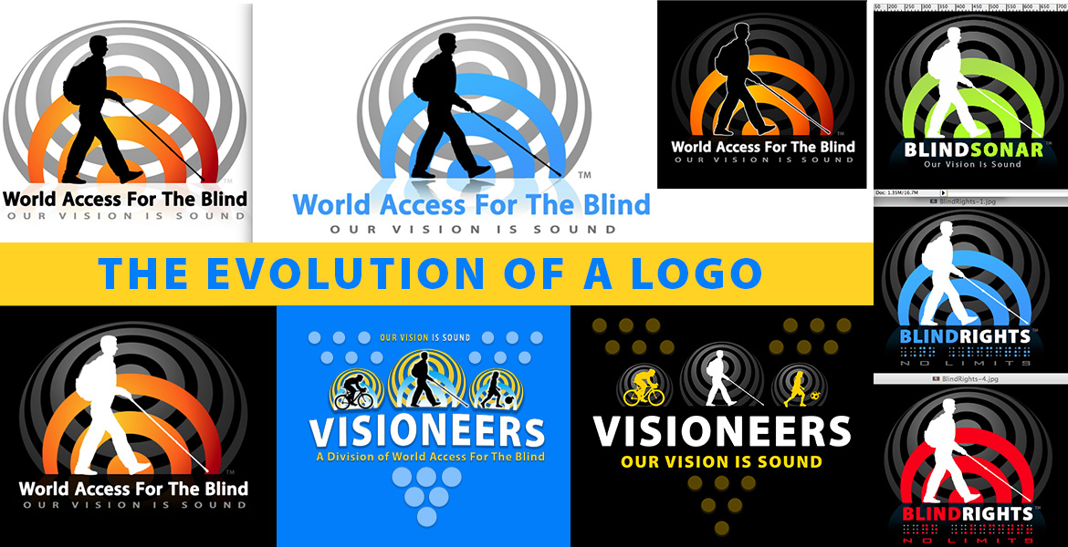 Top page banner is repeated here and is a a collage of logos for World Access For The Blind and Visioneers in varying colors and configurations using a silhouette of Daniel Kish against one of more 'sonar waves' indicated by emanating circular rings.