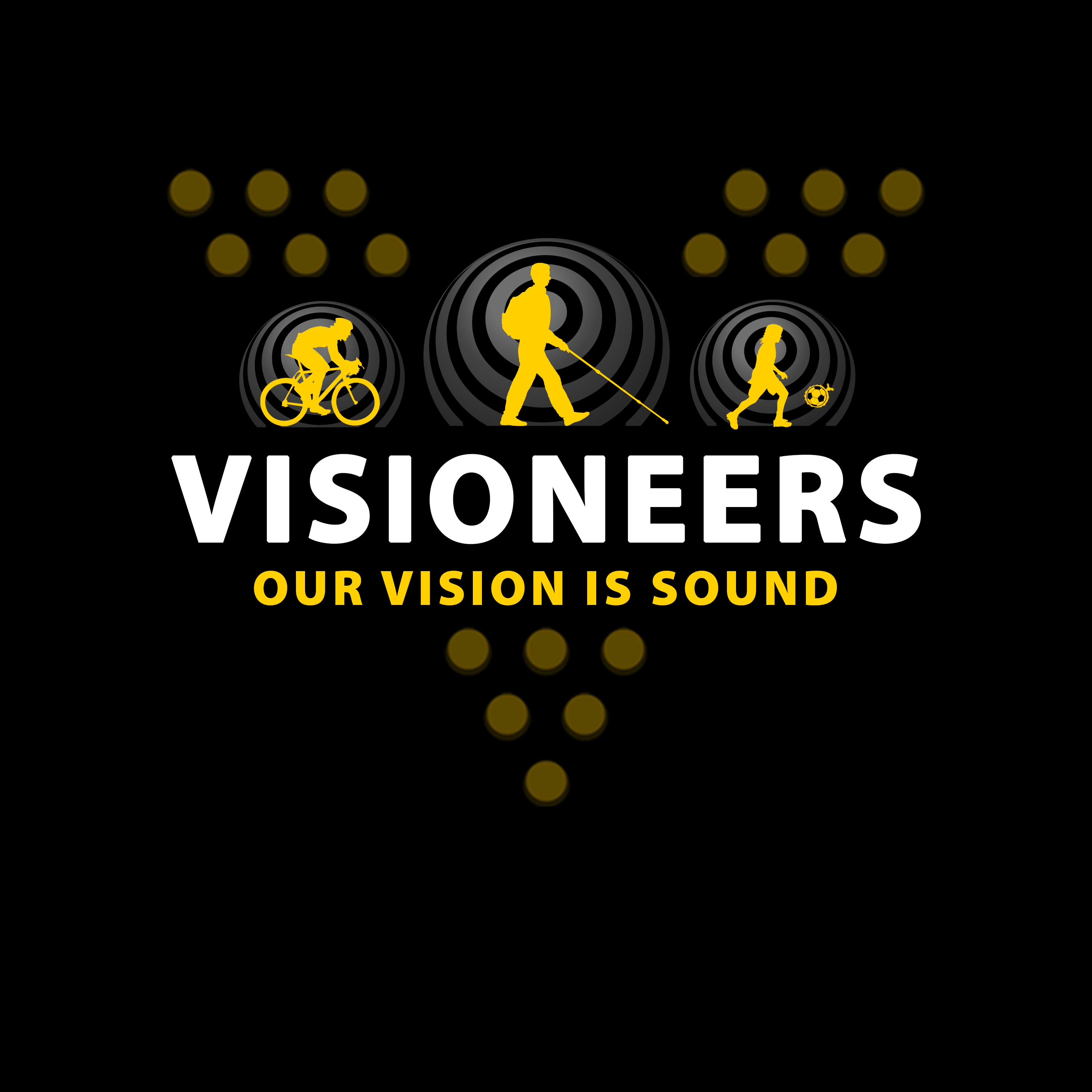 Visioneers 1. Yellow icons against gradient grey rear sonar waves with Our Vision Is Sound in Yellow against muted yellow V dots.