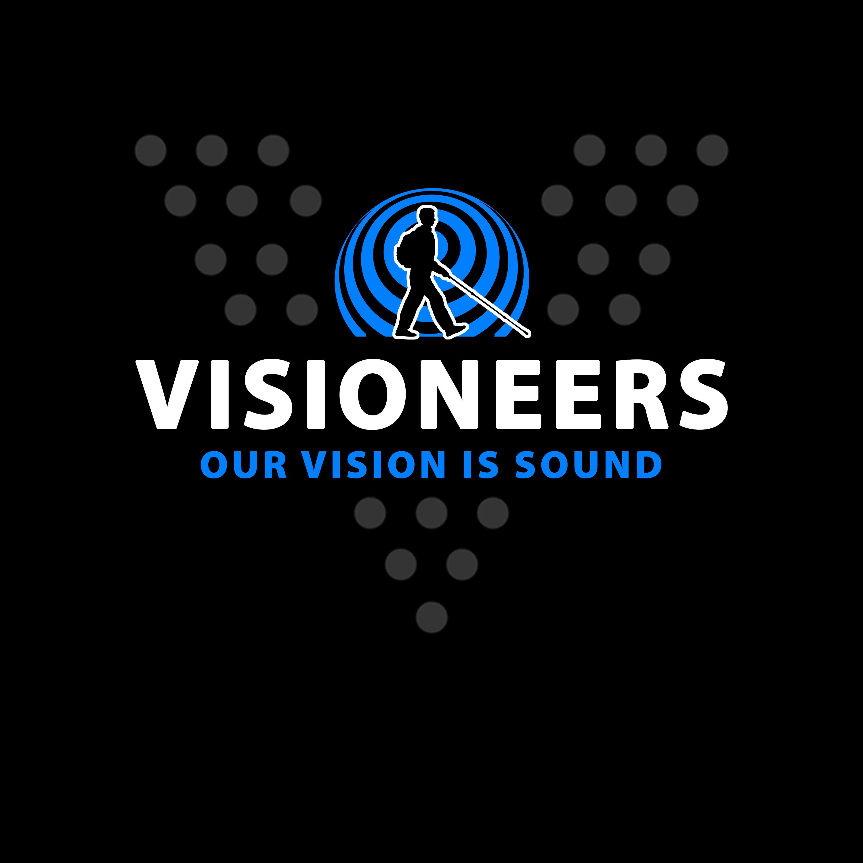 Visioneers 13. Same as previous panel but with rear sonar wave and Our Vision Is Sound changed to blue.