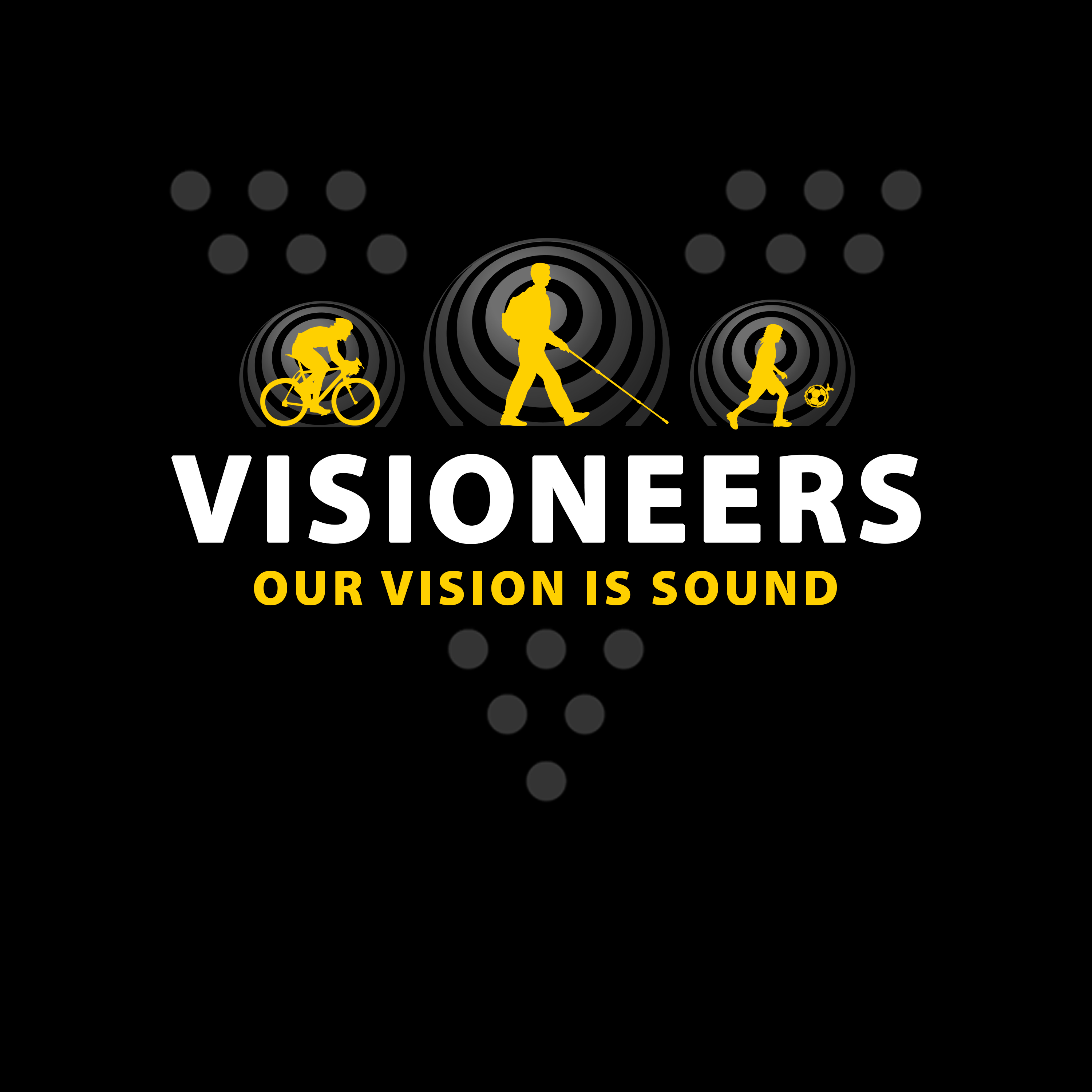 Visioneers 3. Same as previous layout with yellow Daniel silhouette, plain Visioneers white text and grey V dots.