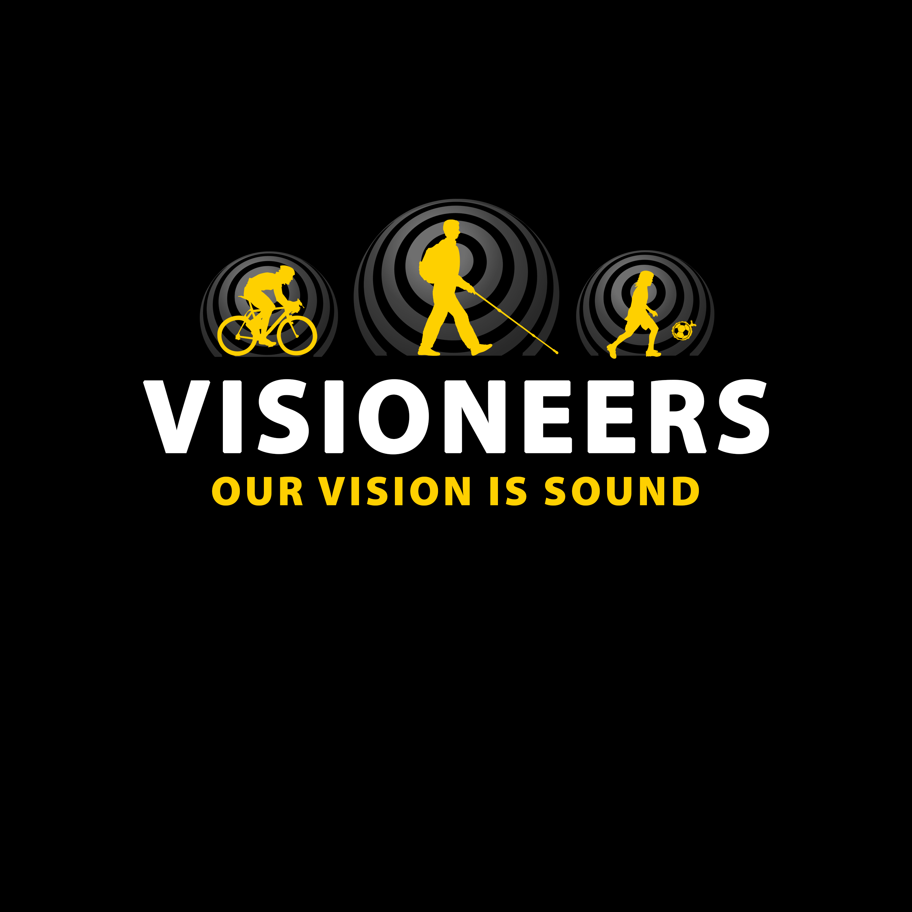 Visioneers 5. SAme as previous panel but with yellow Daniel silhouette and no V dots.