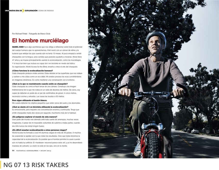 A screenshot of the National Geographic article about Daniel Kish and a photo of Daniel wearing a helmet while riding his bicycle.