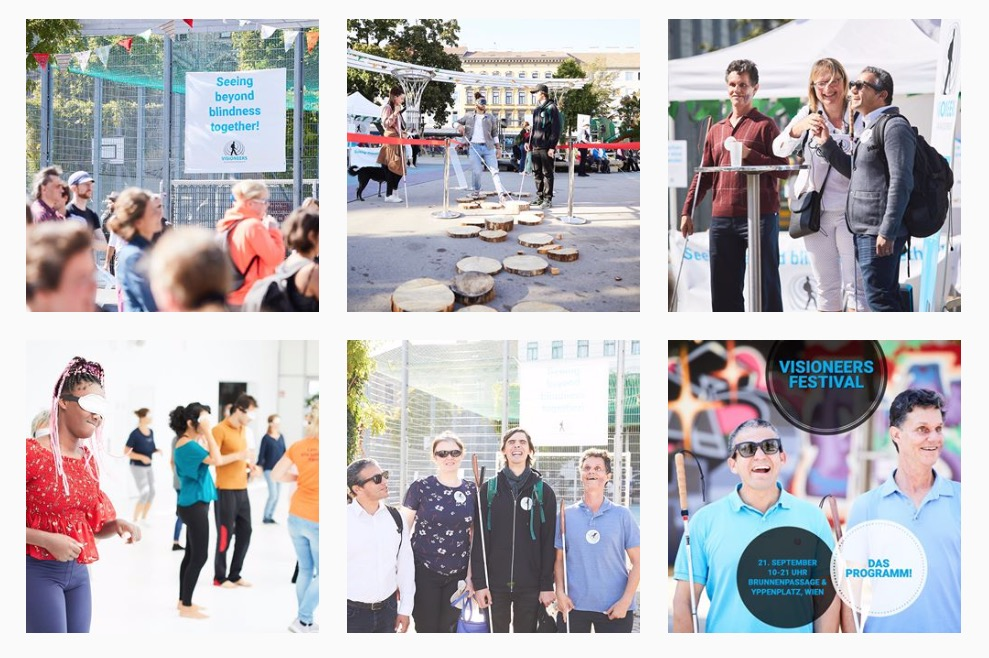 A montage of 6 photos show participants at the Visioneers Family Festival in Vienna, including Daniel Kish, Juan Ruiz and members of the Austria affiliate. Sighted participants wear a sleep mask to block their vision as they use a perception cane to try to navigate an obstacle course made of tree trunk wedges using a perception cane.