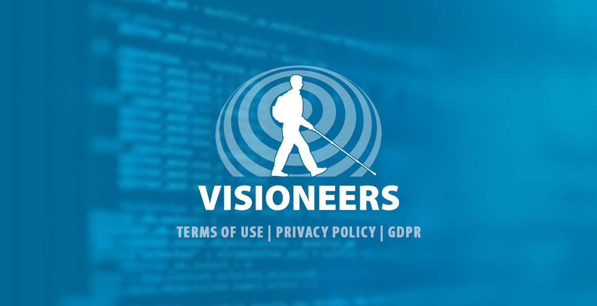 Visioneers Terms of Use | Privacy Policy | GDPR . Image: Visioneers logo is shown agains a transparent blue background with a blurred image of a computer screen full of code in the background.