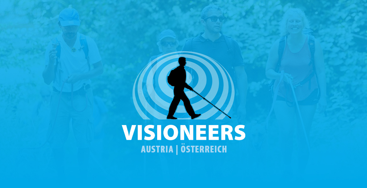 Visioneers Austria logo consists of Lead Visioneer Daniel Kish walking with a full-length perception cane against a sonar wave of expanding circles against a transparent blue backdrop in front of blind people walking on a Visioneers hike.