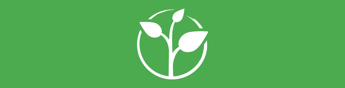 Zero project banner consisting of three leaf sprouts inside a white circle against a green background.