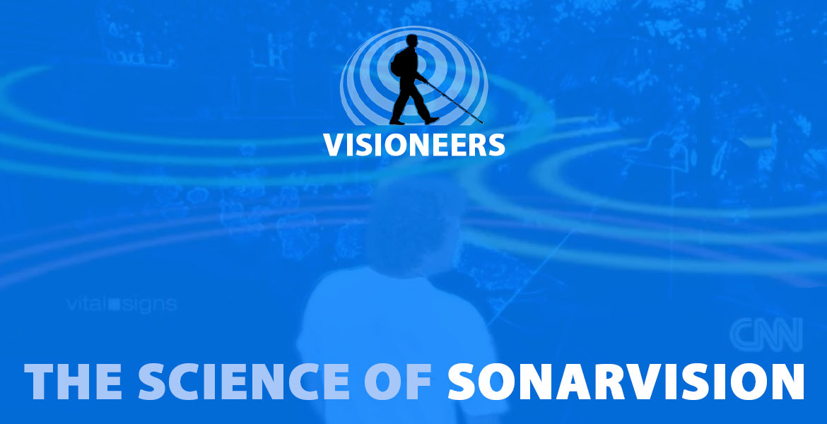 Visioneers: The Science of Sonarvision. Image: computer enhanced video of Brian Bushway sending out sonar vision waves by clicking his tonight with animation overlaid from CNN's Vital Signs program.