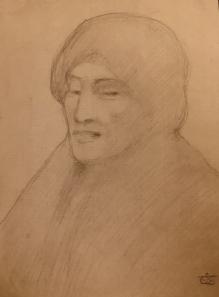 Kahlil Gibran: Portrait, graphite on paper, c1902-1904