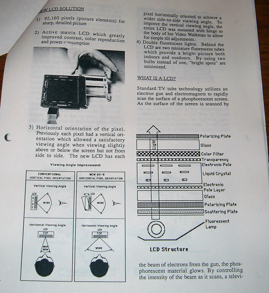 Sony GV 8 technical paper page two