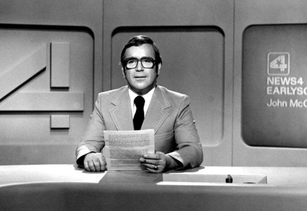 This undated photo shows John McCullough on the set at WTMJ