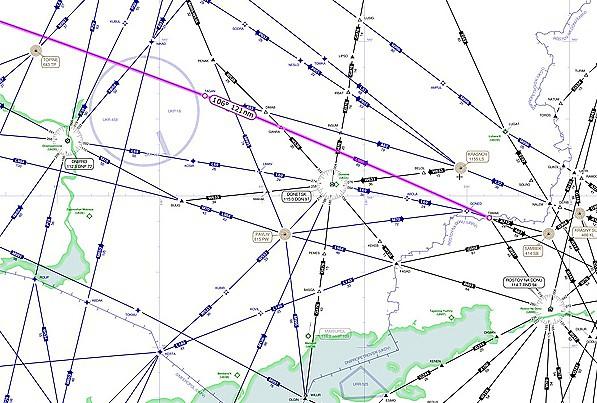 Malaysia Airlines Flug MH17 war unterwegs auf Airway L980 über der östlichen Ukraine.