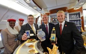Emirates gibt sich hessisch und serviert ,Stöffsche´an Bord ihrer A380 nach Frankfurt