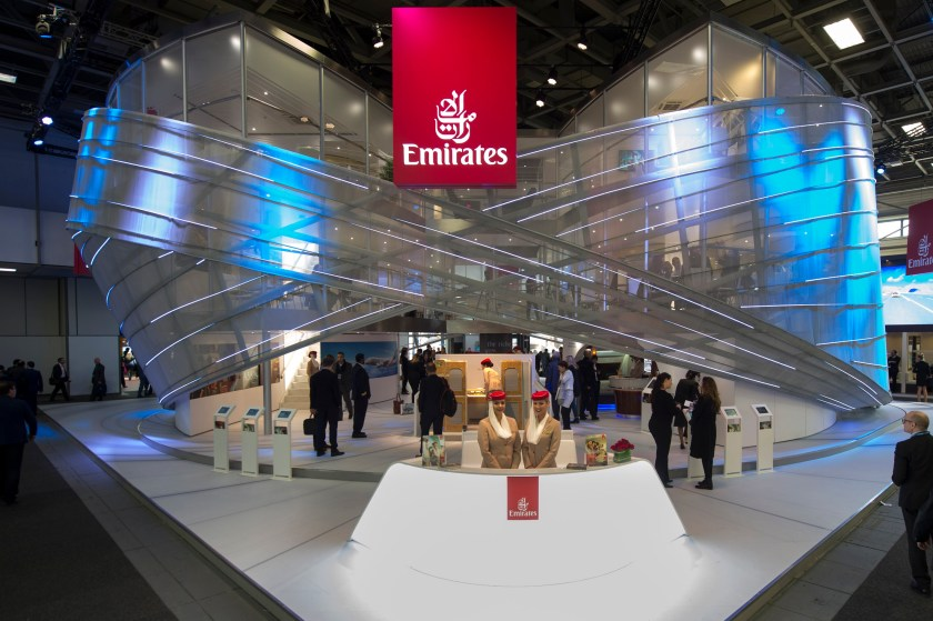 09 MAR 2013, BERLIN/GERMANY: Emirates Airline Stand at the Internationale Tourismus Boerse, ITB, Messe Berlin IMAGE: 20160309-01 KEYWORDS: Internationale Tourismus Börse