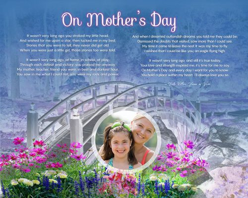 Mother's Day Bridge with Wildflowers Art Poem to Personalize