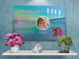 36 x 24 Sunset Over Water Personalized Birthday Art Poem Canvas Print with Gallery Wrapped Canvas Edge
