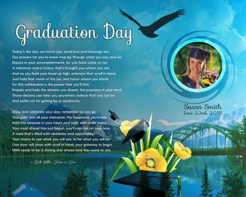Original Mountain Scene Art Poem Graduation Gift Personalized