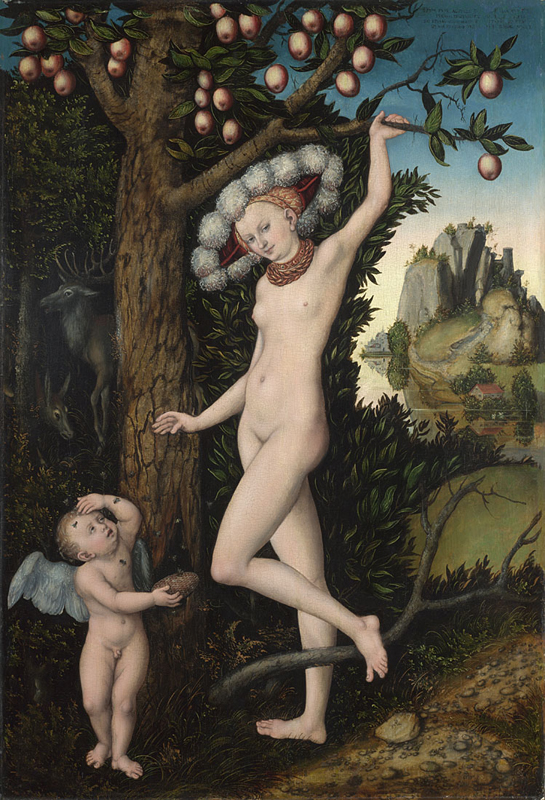 Lucas Cranach the Elder, 1472 - 1553Cupid complaining to Venus about 1525 Oil on wood, 81.3 x 54.6 cm Bought, 1963 NG6344 http://www.nationalgallery.org.uk/paintings/NG6344