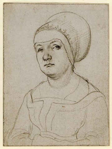 Workshop of Hans Holbein the Elder, Silverpoint drawing of the wife of Jörg Fischer, c. 1512-15. http://www.britishmuseum.org/research/collection_online/collection_object_details.aspx?objectId=720914&partId=1&people=130600&peoA=130600-2-10&page=1